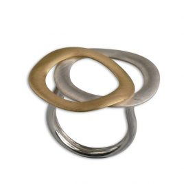 ANILLO ECLIPSE DOBLE PLATA I ORO